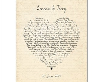 Wedding Song First Dance Print - Favorite song - Any song lyrics, Vows  Heart Typography Personalized Wedding, Anniversary, Valentines gift