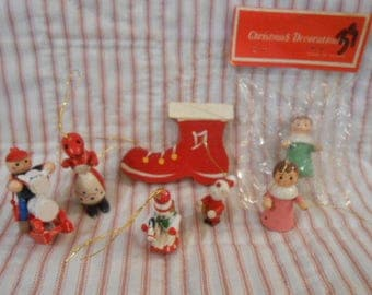 Wooden Vintage Christmas Ornament Collection
