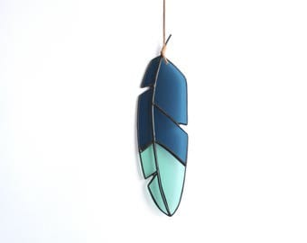 "9"" Stained Glass Feather - medium - dark blue and light blue/green glass with leather for hanging"