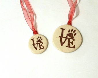 LOVE Paw Print, Large Ceramic Ornament, 2inch Christmas Ornament,  Home Decor, Paw Prints, Pets