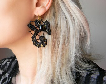 Black Lace Earrings, Art Nouveau Earrings, Sexy Jewelry, Long Earrings, Crystal Earrings, Silk Earrings Long Dangle Earrings, Fancy Earrings