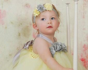Baby Headband,Yellow and Gray Headband, infant Headband, Newborn Headband, Toddler Headband, Yellow and Gray Baby Headband