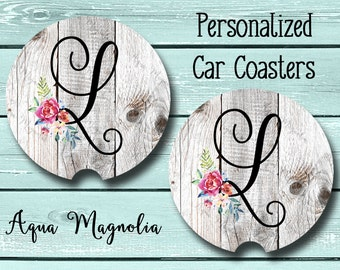 Personalized Shabby Chic Floral Initial - Weathered Wood - Personalized - Car Coaster - Car Accessory - Monogrammed