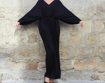 Black Maxi dress/ Long black dress/ Caftan/ Maxi Dress/ Plus size dress/ Summer dress/ Elegant dress/ Casual dress