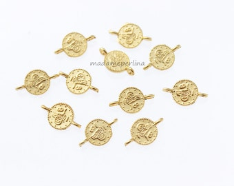 20 pcs  connectors  coin 12mm matte gold plated brass links Ottoman Replica tughra jewelry Findings Turkish supplies mdla87