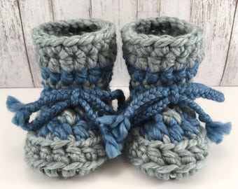 Light Blue with Dark Blue Stripes Baby Toddler Child Crochet SHEEPSKIN Booties Slippers with Upcycled Leather and Sheepskin Shearling Sole