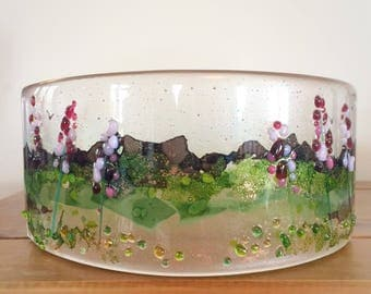 Large fused glass curve