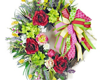 Red Rose Wreath, Green Hydrangea Wreath, Summer Grapevine Wreath, Front Door Wreath, Red Wreath, Green Wreath, Romantic Wreath
