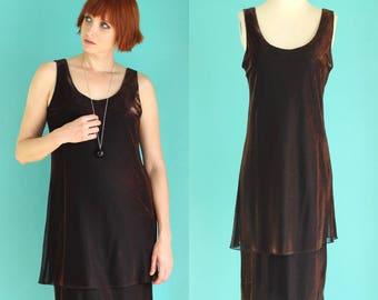 Vintage 80s Metallic Dress - Bronze Dress - Glitter Dress - Sleeveless Dress - Formal Dress Short - Tiered Dress - Size Medium / Large
