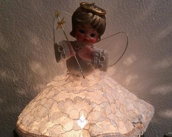 Vintage Prism Tree Topper Christmas Angel Lighted