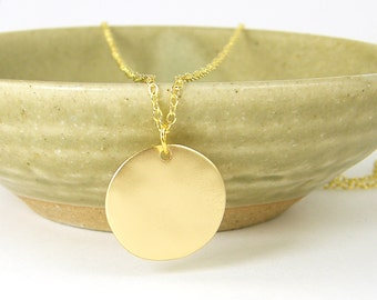 Gold Disc Pendant Necklace, Matte Gold Circle Necklace, Textured Gold Necklace, Modern Geometric Everyday Jewelry |NB2-16