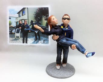 Custom Bride and Groom Cake Topper Sculpture from Your Ideas and photos
