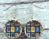 Upcycled Jewelry, Mexican Loteria, Beer Cap Earrings, Loteria Earrings, Recycled Bottle Caps, Repurposed Earrings, Bottle Cap Earrings