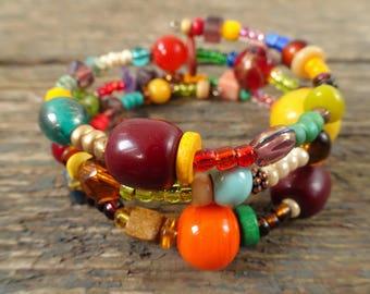 Boho bracelet, beaded bracelet, gift for her, boho jewelry, memory wire bracelet, tribal bracelet, wrap bracelet, gypsy bracelet, bracelet