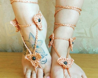 Peach Barefoot Sandals- Foot Jewelry- Footless Bare foot Sandals- Barefoot Wedding Sandal- Beach Wedding- Bridesmaid gift- Flower sandals