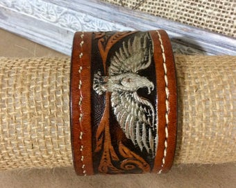 Wide Leather Cuff Bracelet with Eagle Motif - Leather Jewelry - Leather Cuff Bracelet