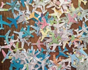Airplane Map Confetti, 100 Airplane Atlas Cutouts, Avion Confetti, Travel, Moving, Bon Voyage, Airplane Party, Atlas