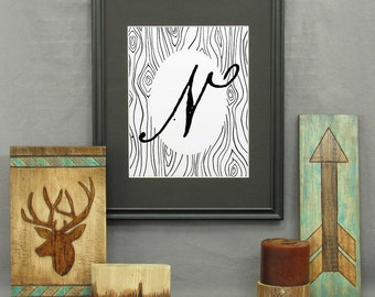 Letter N Print, printable, large letter art, typography, monogram, modern rustic décor, alphabet, initials, poster, wall art, historical