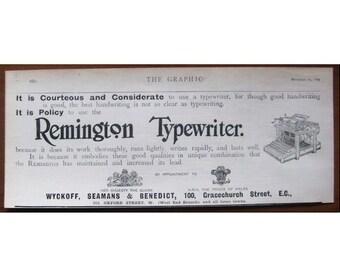 Remington, 1899, vintage, ad, original, English, advertisement, typewriter, free shipping, paper, ephemera
