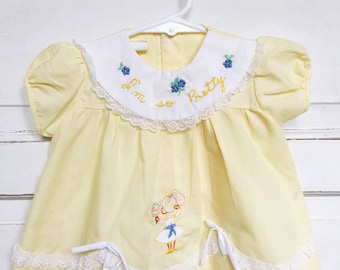 Vintage butter yellow embroidered baby dress- pretty baby dress- lace bows vintage baby girl dress Size 6M