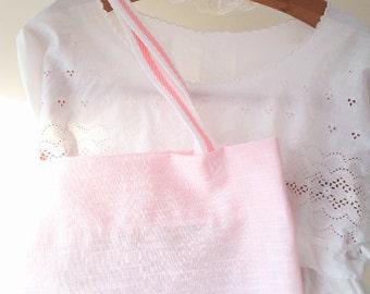 Pink shopping bag, tote bag, pink tote, pink bag, book bag, shopping bag, cotton bag, market bag, eco friendly bag, clarashandmade