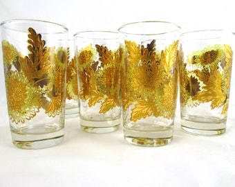 Set of 8 Gold Gilt Chrysanthemum Drinking Glasses Pokee Glasses Mid Century Modern Barware MCM Glassware