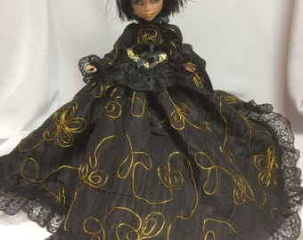 MARKDOWN!!! Black and Gold Embroidered Victorian Bustle Gown for your Monster High Doll - Monster High Handmade Doll Dress