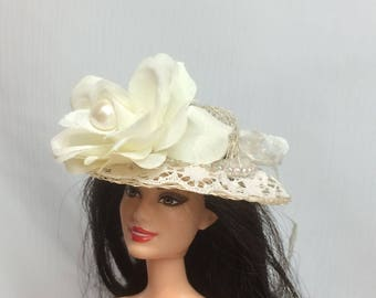 Ivory Rose, Pearl and Lace Tea Party Straw Hat for your Barbie Doll