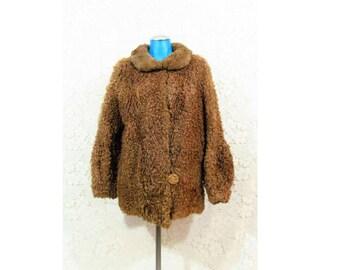 Vtg 1940s Persian Lambs Wool Caramel Chunky Glam Plush Coat