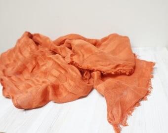 Linen flax Unisex Scarf Shawl burnt orange stripe fringe eco ooak statement men women girl boy teen feltinga washed infinity circle long