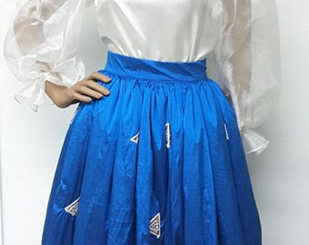 Embroidered Silk Tafetta Maxi Skirt ONLY. Petticoat.  Womens Clothing. Handmade Clothing. Weddings. Party.