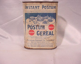 Very Old Advertising Tin Instant Postum Cereal Co.