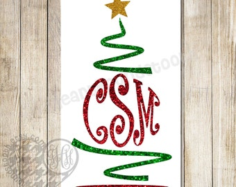 glitter christmas tree monogram iron on christmas iron on diy glitter christmas tree shirt - Iron Christmas Tree