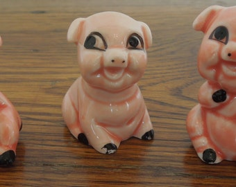 Vintage 3 Little Pigs Ceramic Figurines