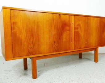 mid century Danish modern teak long low credenza sideboard with tambour doors