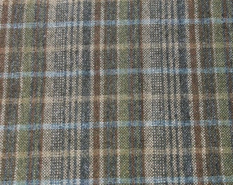 Vintage Green Plaid Woven Wool Fabric, Shirt Skirt Dress Quilting Sewing Fabric Material, Almost 1 yard