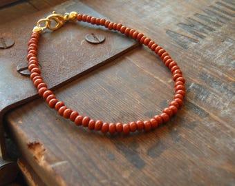 cinnamon brown bracelet boho beach party surf seed bead vacation wear