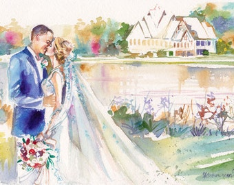 Custom Wedding Portrait, Personalized Wedding Painting for First Anniversary Gifts by Kristin Glaze van Lieshout