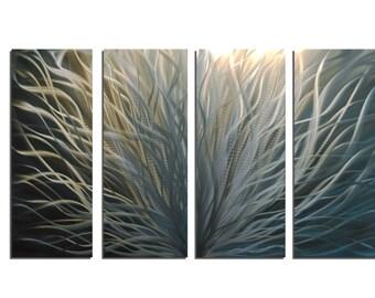 Metal Wall Art Abstract Aluminum Sculpture Modern Decor - Radiance Silver and Gold 36x63