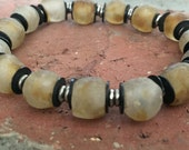 Recycled African Glass Beads, Metal and Ethiopian Silver Heishe