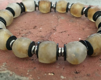 Recycled African Glass Beads, Metal and Silver Spacers