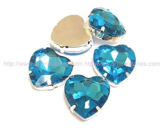 Heart shape Sew On Crystal Rhinestones Aquamarine (Light Blue) in 27mm / 18mm on Silver Setting 5pcs