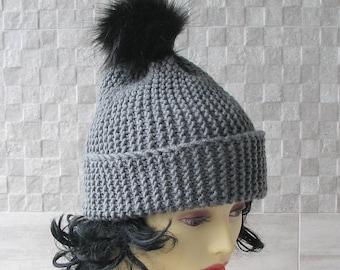 Women's Pom Pom Hat / Faux Fur Pom Beanie / Vegan Pom Hat / Winter Accessories