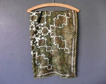 Richard Allen silk scarf - vintage silk scarf - vintage designer silk scarf - green and brown silk scarf - English silk scarf