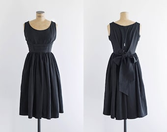 1950s Dress - Vintage 50s Black Moire Bow Back Dress - Sacré Coeur Dress
