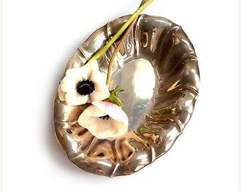 "SALE Vintage Silver Plated Oval Dish , Austrian Fruit Bowl  ""Argentor "" ."