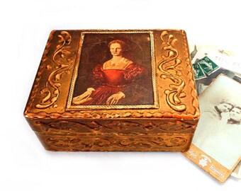 Medieval Woman Florentine Jewelry Box ,Vintage Italian Wedding Ring Box ,Florentine Gilded Wooden trinket box,jewelry carved box .