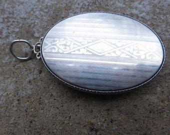 Art Deco Sterling Compact, Sterling Compact Pendant with Rouge and Powder, Marked Sterling