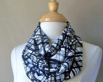 Free Shipping, Large Infinity Scarf--Black and White Window Pane Geometrice Patterned Infinity Scarf