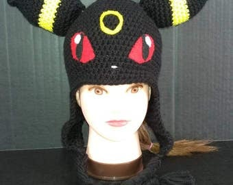 Umbreon Hat, Umbreon Cosplay, Umbreon Beanie, Pokemon Hat, Pokemon Umbreon Hat, Cosplay Pokemon, Fun Hat, Crochet Umbreon Hat, Cosplay Hat